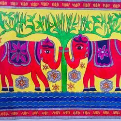 ELEPHANT JODI MADHUBANI size - 15x12In - 15x12