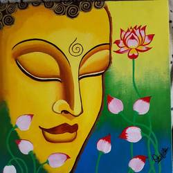 Abstract buddha painting  size - 12x12In - 12x12