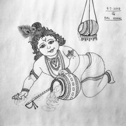 Krishna Bal Gopal size - 11x11In - 11x11