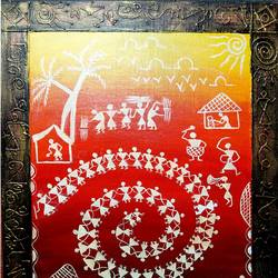 Warli Painting size - 12x16In - 12x16