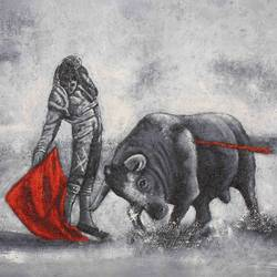 bull with man size - 36x24In - 36x24