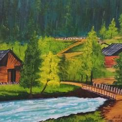 Beautiful Landscape with River and mountain huts size - 12x16In - 12x16