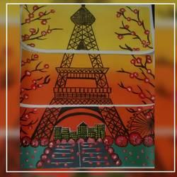 Eiffel tower size - 17x7In - 17x7