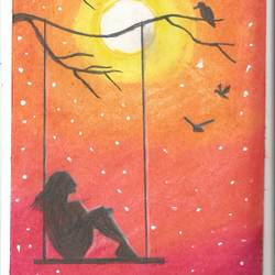 Lonely Girl Swings On A Moonlit Night size - 7.5x11In - 7.5x11