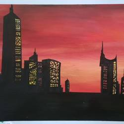 Evening view painting of metropolitan city size - 18x14In - 18x14