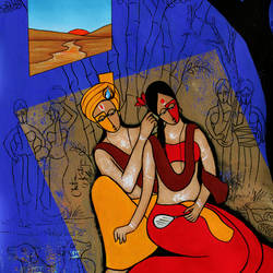 Radha Krishna size - 23x35In - 23x35