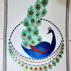 Peacock painting No. 5 size - 12x18In - 12x18
