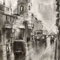 Kolkata eternity series 4.1 in ink, charcoal and graphite size - 11x16In - 11x16