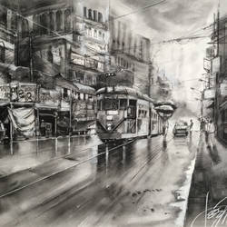 "Kolkata Eternity 4.2, chariots of the north- in ink, charcoal, graphite and acrylic 36"" x 24"" size - 36x24In - 36x24"