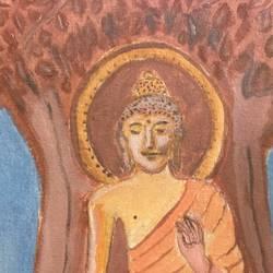 Buddha under bodhi tree size - 14x12In - 14x12