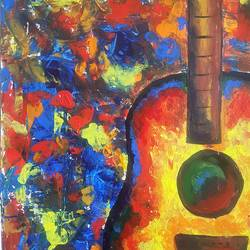 Jazz Music (Finger painting) size - 11.69 x16.53In - 11.69 x16.53