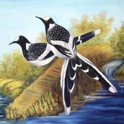 Loving long-tail birds size - 18x12In - 18x12