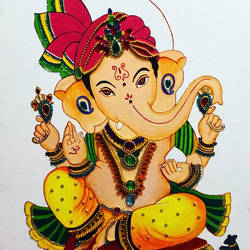LORD GANESHA PAINTING size - 12.8x12.4In - 12.8x12.4