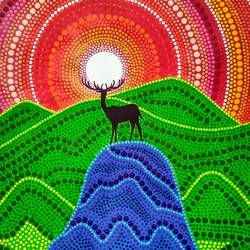 Dot Mandala Lone deer size - 12x18In - 12x18