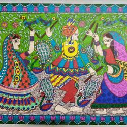 Dandia Raas - Madhubani  size - 16.5 x11.6In - 16.5 x11.6