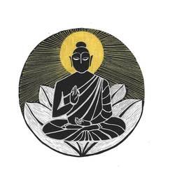 Buddha and lotus size - 8x11In - 8x11