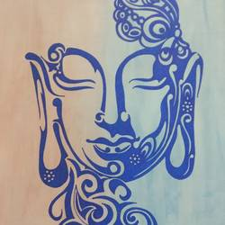 Buddha in dual tone background  size - 11.5x16.5In - 11.5x16.5
