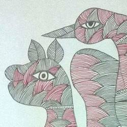 Gond Mythical Animals  size - 10x16In - 10x16
