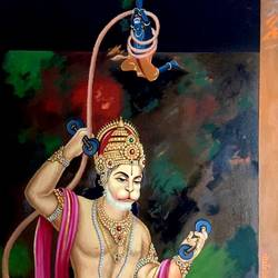 Hanuman vs Shani Dev  size - 31x48In - 31x48