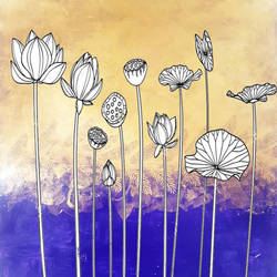 Lotus golden painting size - 20x30In - 20x30