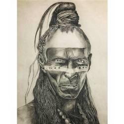 Tribal man  size - 11.69x16.53In - 11.69x16.53