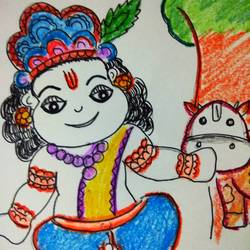 madhav & his cow  size - 15x15In - 15x15