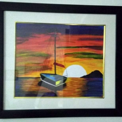 Sunset with yatch painting size - 15x17In - 15x17