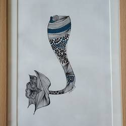 Mermaid tail Doodle art size - 10x14In - 10x14