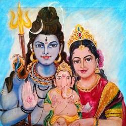 SHIV PARVATI AND GANESH  size - 20x26In - 20x26