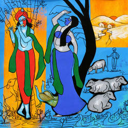 Indian god Radha Krishna size - 23x23In - 23x23