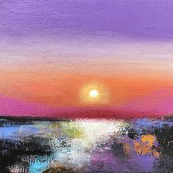 Abstract Landscape !! Purple Love !! size - 6x6In - 6x6