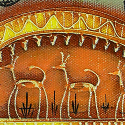 TRIBAL ART ON CANVAS DEER - RURAL ODISHA  size - 13.38x7.28In - 13.38x7.28