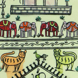 TRIBAL ART ON SILK  -ANIMALS  size - 13.38x7.48In - 13.38x7.48