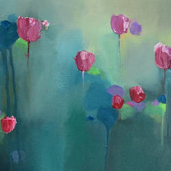 """A contemporary abstract landscape painting, original artwork, """"secret of petals"""", 18""""x18"""" size - 18x18In - 18x18"""