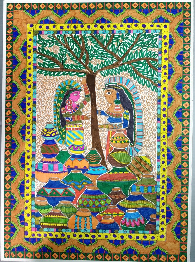 10x15 Room: Buy Village Talks Size 10x15 In Created By Artist Yesha