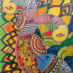 Madhubani art size - 8.27x11.69In - 8.27x11.69