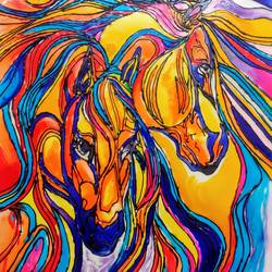 Glass painting of horses size - 8.27x11.69In - 8.27x11.69