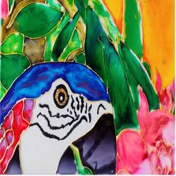 Glass painting of Macaw size - 8.27x11.69In - 8.27x11.69
