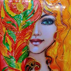 Glass painting of lady size - 8.27x11.69In - 8.27x11.69