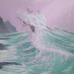 Stormy wave ship  size - 30x22In - 30x22