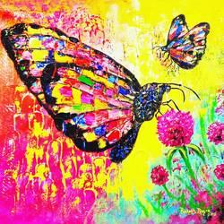 butterflies size - 24x18In - 24x18