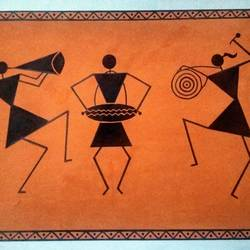 Warli Art- Dancing Group size - 22x15In - 22x15