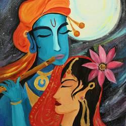Krishna Radha - Love under the moon size - 22x30In - 22x30