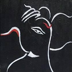 Ganpati black size - 10x12In - 10x12