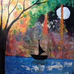 Sailing under the moon size - 18x24In - 18x24