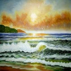 SEASCAPE PAINTING size - 23.5x16.5In - 23.5x16.5