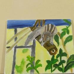 3d squirrel painting size - 8x12In - 8x12