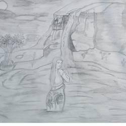 Waterfall Night girl size - 16.5x11.7In - 16.5x11.7