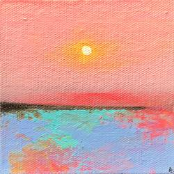 Pink Haze !! Miniature abstract landscape size - 4x4In - 4x4