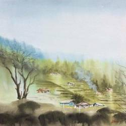 Original watercolor painting landscape for wall art size - 26x18In - 26x18